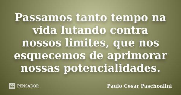 Passamos tanto tempo na vida lutando contra nossos limites, que nos esquecemos de aprimorar nossas potencialidades.... Frase de Paulo Cesar Paschoalini.
