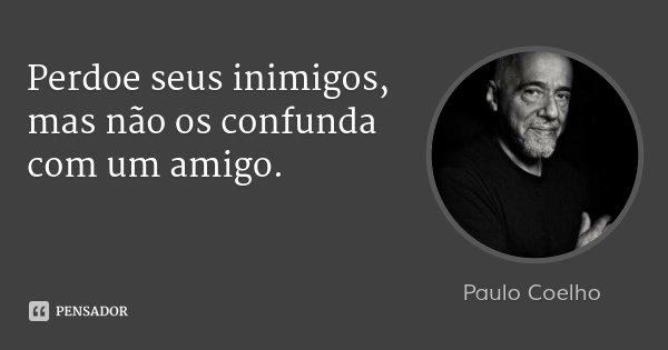 Perdoe seus inimigos, mas não os confunda com um amigo.... Frase de Paulo Coelho.