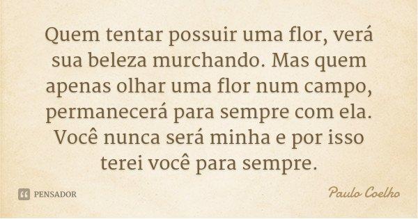 Quem tentar possuir uma flor, verá sua beleza murchando. Mas quem apenas olhar uma flor num campo, permanecerá para sempre com ela. Você nunca será minha e por ... Frase de Paulo Coelho.