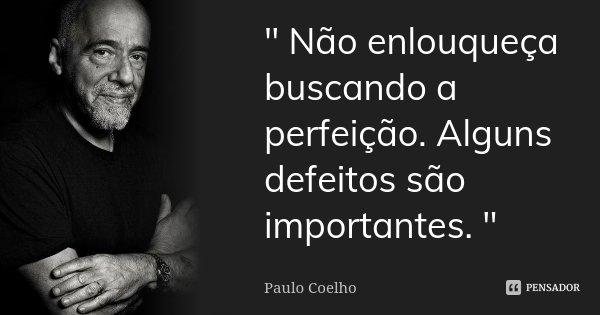 """"""" Não enlouqueça buscando a perfeição. Alguns defeitos são importantes. """"... Frase de PAULO COELHO."""