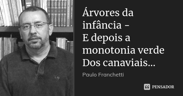 Árvores da infância - E depois a monotonia verde Dos canaviais...... Frase de Paulo Franchetti.