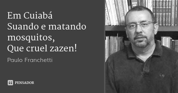 Em Cuiabá Suando e matando mosquitos, Que cruel zazen!... Frase de Paulo Franchetti.