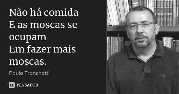 Não há comida E as moscas se ocupam Em fazer mais moscas.... Frase de Paulo Franchetti.