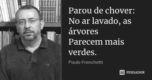 Parou de chover: No ar lavado, as árvores Parecem mais verdes.... Frase de Paulo Franchetti.