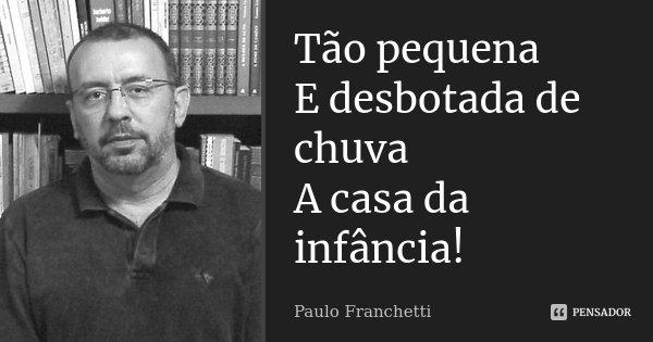 Tão pequena E desbotada de chuva A casa da infância!...... Frase de Paulo Franchetti.