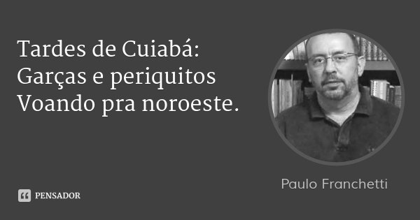 Tardes de Cuiabá: Garças e periquitos Voando pra noroeste.... Frase de Paulo Franchetti.