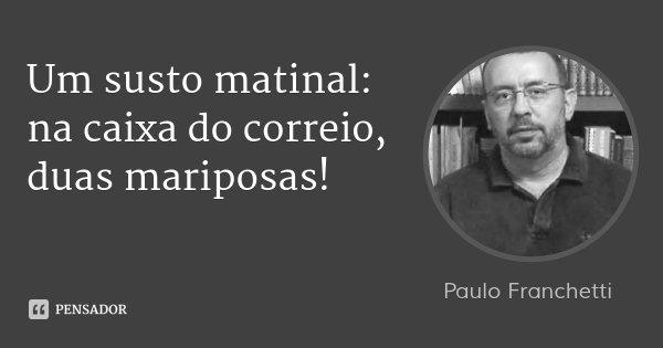 Um susto matinal: na caixa do correio, duas mariposas!... Frase de Paulo Franchetti.