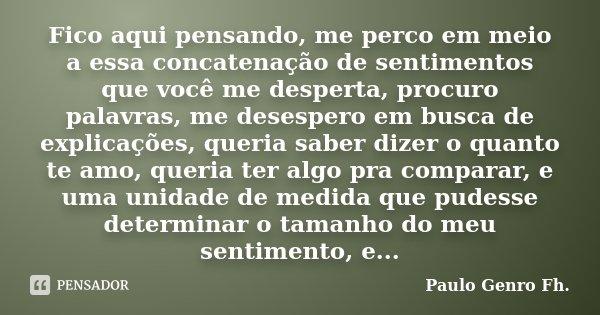 Fico aqui pensando, me perco em meio a essa concatenação de sentimentos que você me desperta, procuro palavras, me desespero em busca de explicações, queria sab... Frase de Paulo Genro Fh..