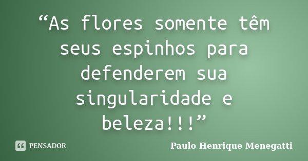 """""""As flores somente têm seus espinhos para defenderem sua singularidade e beleza!!!""""... Frase de Paulo Henrique Menegatti."""