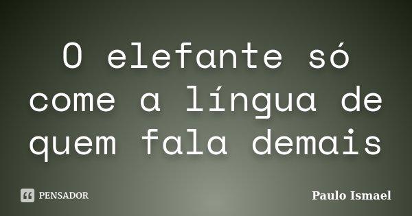 O elefante só come a língua de quem fala demais... Frase de Paulo Ismael.