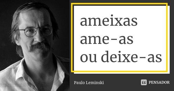 ameixas ame-as ou deixe-as... Frase de Paulo Leminski.