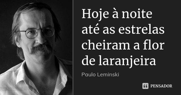 Hoje à noite até as estrelas cheiram a flor de laranjeira... Frase de Paulo Leminski.