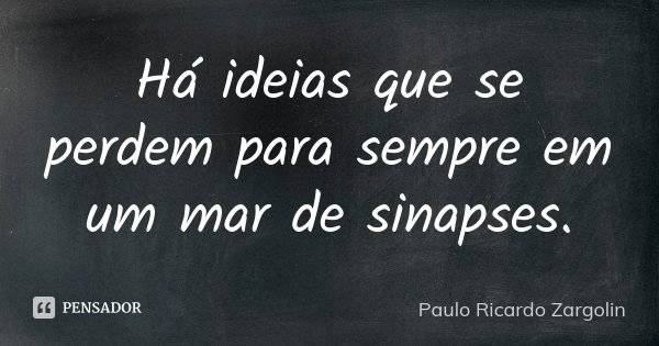 Há ideias que se perdem para sempre em um mar de sinapses.... Frase de Paulo Ricardo Zargolin.
