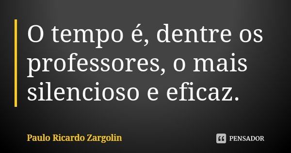 O tempo é, dentre os professores, o mais silencioso e eficaz.... Frase de Paulo Ricardo Zargolin.