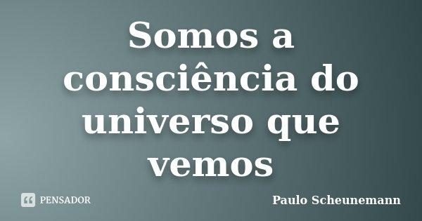 Somos a consciência do universo que vemos... Frase de Paulo Scheunemann.