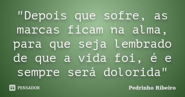 """""""Depois que sofre, as marcas ficam na alma, para que seja lembrado de que a vida foi, é e sempre será dolorida""""... Frase de Pedrinho Ribeiro."""