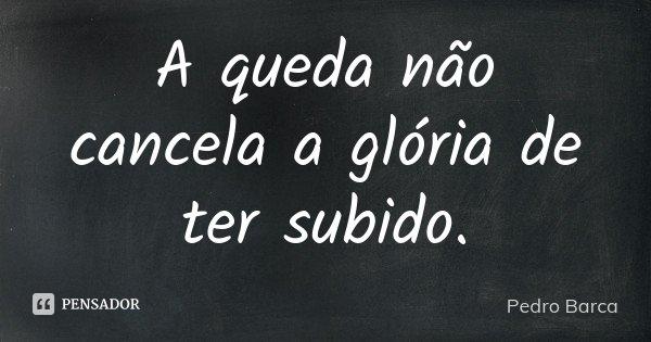 A queda não cancela a glória de ter subido.... Frase de Pedro Barca.