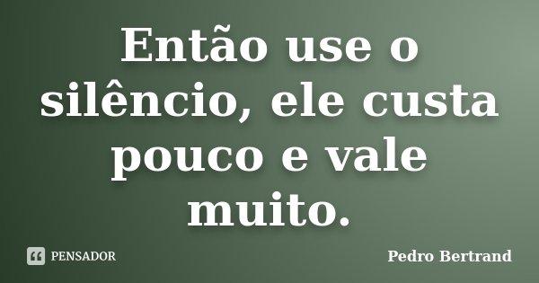 Então use o silêncio, ele custa pouco e vale muito.... Frase de Pedro Bertrand.
