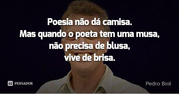 Poesia não dá camisa. Mas quando o poeta tem uma musa, não precisa de blusa, vive de brisa.... Frase de Pedro Bial.