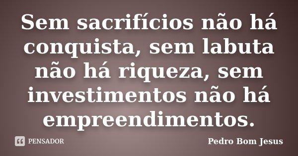 Sem sacrifícios não há conquista, sem labuta não há riqueza, sem investimentos não há empreendimentos.... Frase de Pedro Bom Jesus.