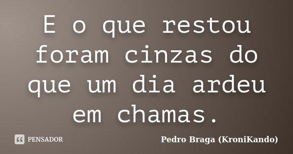 E o que restou foram cinzas do que um dia ardeu em chamas.... Frase de Pedro Braga (KroniKando).