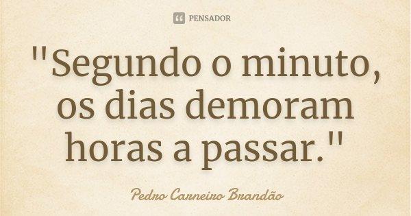 """""""Segundo o minuto, os dias demoram horas a passar.""""... Frase de Pedro Carneiro Brandão."""