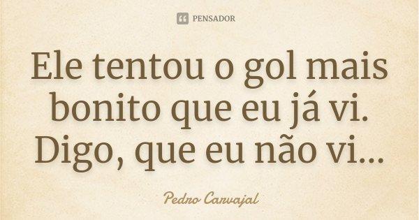 Ele tentou o gol mais bonito que eu já vi. Digo, que eu não vi...... Frase de Pedro Carvajal.