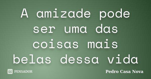 A amizade pode ser uma das coisas mais belas dessa vida... Frase de Pedro Casa Nova.