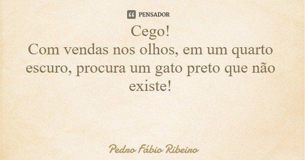 Cego! Com vendas nos olhos, em um quarto escuro, procura um gato preto que não existe!... Frase de Pedro Fábio Ribeiro.