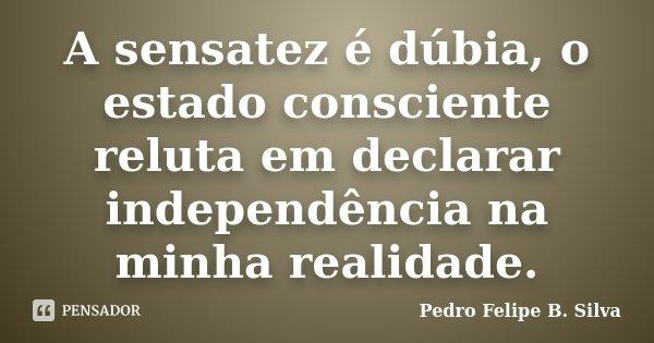 A sensatez é dúbia, o estado consciente reluta em declarar independência na minha realidade.... Frase de Pedro Felipe B. Silva..