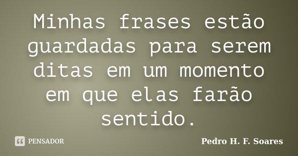 Minhas frases estão guardadas para serem ditas em um momento em que elas farão sentido.... Frase de Pedro H.F. Soares.