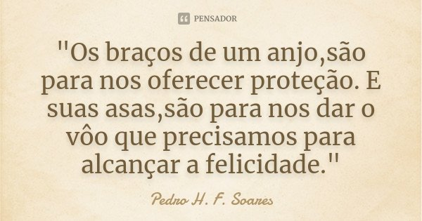 """""""Os braços de um anjo,são para nos oferecer proteção. E suas asas,são para nos dar o vôo que precisamos para alcançar a felicidade.""""... Frase de Pedro H. F. Soares."""