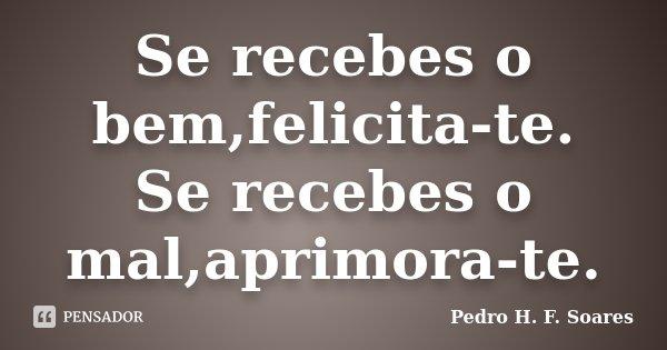 Se recebes o bem,felicita-te. Se recebes o mal,aprimora-te.... Frase de Pedro H.F. Soares.