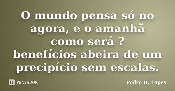 O mundo pensa só no agora, e o amanhã como será ? benefícios abeira de um precipício sem escalas.... Frase de Pedro H. Lopes.
