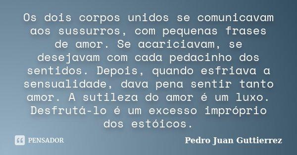 Os dois corpos unidos se comunicavam aos sussurros, com pequenas frases de amor. Se acariciavam, se desejavam com cada pedacinho dos sentidos. Depois, quando es... Frase de Pedro Juan Guttierrez.