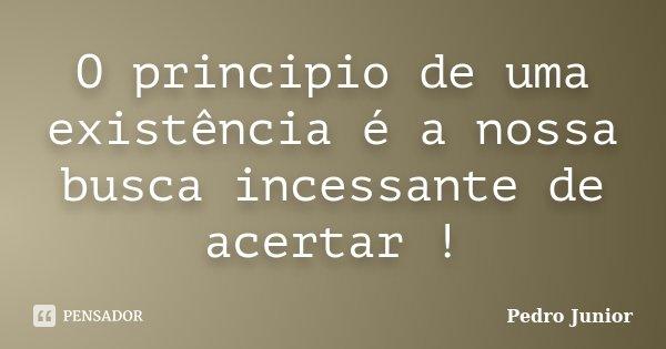 O principio de uma existência é a nossa busca incessante de acertar !... Frase de Pedro Junior.