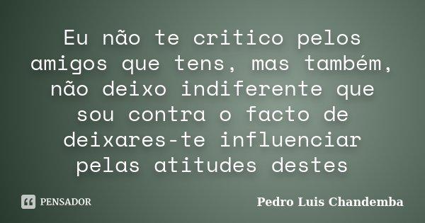 Eu não te critico pelos amigos que tens, mas também, não deixo indiferente que sou contra o facto de deixares-te influenciar pelas atitudes destes... Frase de Pedro Luis Chandemba.