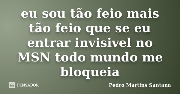 eu sou tão feio mais tão feio que se eu entrar invisivel no MSN todo mundo me bloqueia... Frase de Pedro Martins Santana.