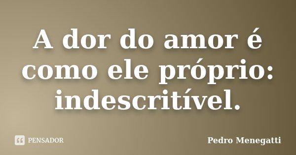 A dor do amor é como ele próprio: indescritível.... Frase de Pedro Menegatti.