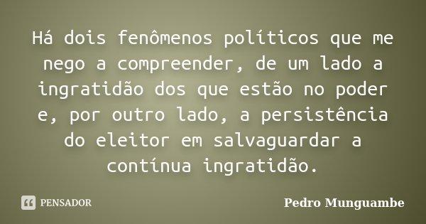 Há dois fenômenos políticos que me nego a compreender, de um lado a ingratidão dos que estão no poder e, por outro lado, a persistência do eleitor em salvaguard... Frase de Pedro Munguambe.