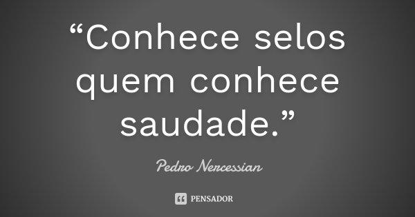 """""""Conhece selos quem conhece saudade.""""... Frase de Pedro Nercessian."""