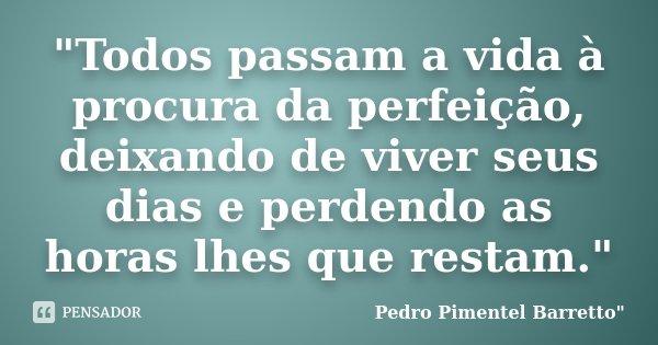 """""""Todos passam a vida à procura da perfeição, deixando de viver seus dias e perdendo as horas lhes que restam.""""... Frase de Pedro Pimentel Barretto"""