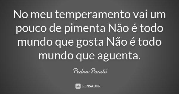 No meu temperamento vai um pouco de pimenta Não é todo mundo que gosta Não é todo mundo que aguenta.... Frase de Pedro Pondé.