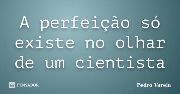 A perfeição só existe no olhar de um cientista... Frase de Pedro Varela.