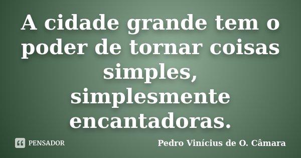 A cidade grande tem o poder de tornar coisas simples, simplesmente encantadoras.... Frase de Pedro Vinícius de O. Câmara.