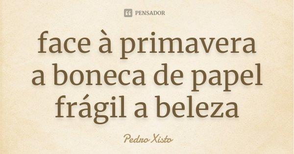 face à primavera a boneca de papel frágil a beleza... Frase de Pedro Xisto.