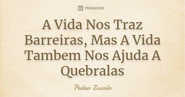 A Vida Nos Traz Barreiras, Mas A Vida Tambem Nos Ajuda A Quebralas... Frase de Pedro Zucolo.