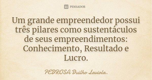 Um grande empreendedor possui três pilares como sustentáculos de seus empreendimentos: Conhecimento, Resultado e Lucro.... Frase de PEDROSA Duilho Laviola..