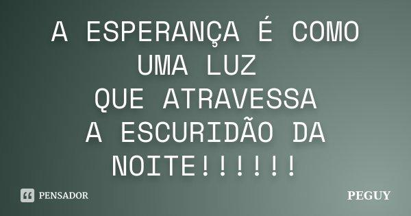 A ESPERANÇA É COMO UMA LUZ QUE ATRAVESSA A ESCURIDÃO DA NOITE!!!!!!... Frase de PEGUY.