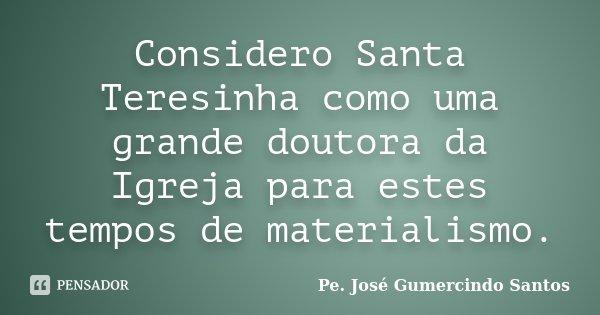 Considero Santa Teresinha como uma grande doutora da Igreja para estes tempos de materialismo.... Frase de Pe. José Gumercindo Santos.